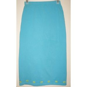 Dresses & Skirts - Turquoise Ponte Knit Skirt Lime Turtle Embroidery